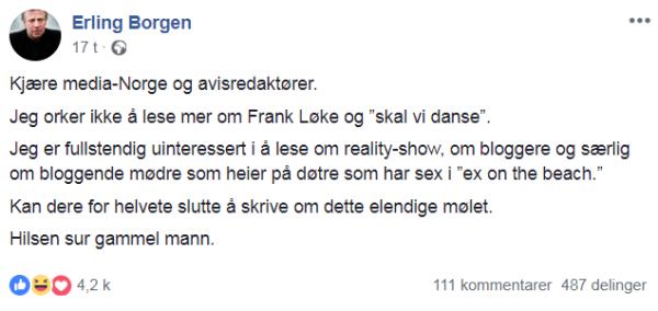 - Jeg orker ikke lese mer om Frank Løke og «Skal vi danse»
