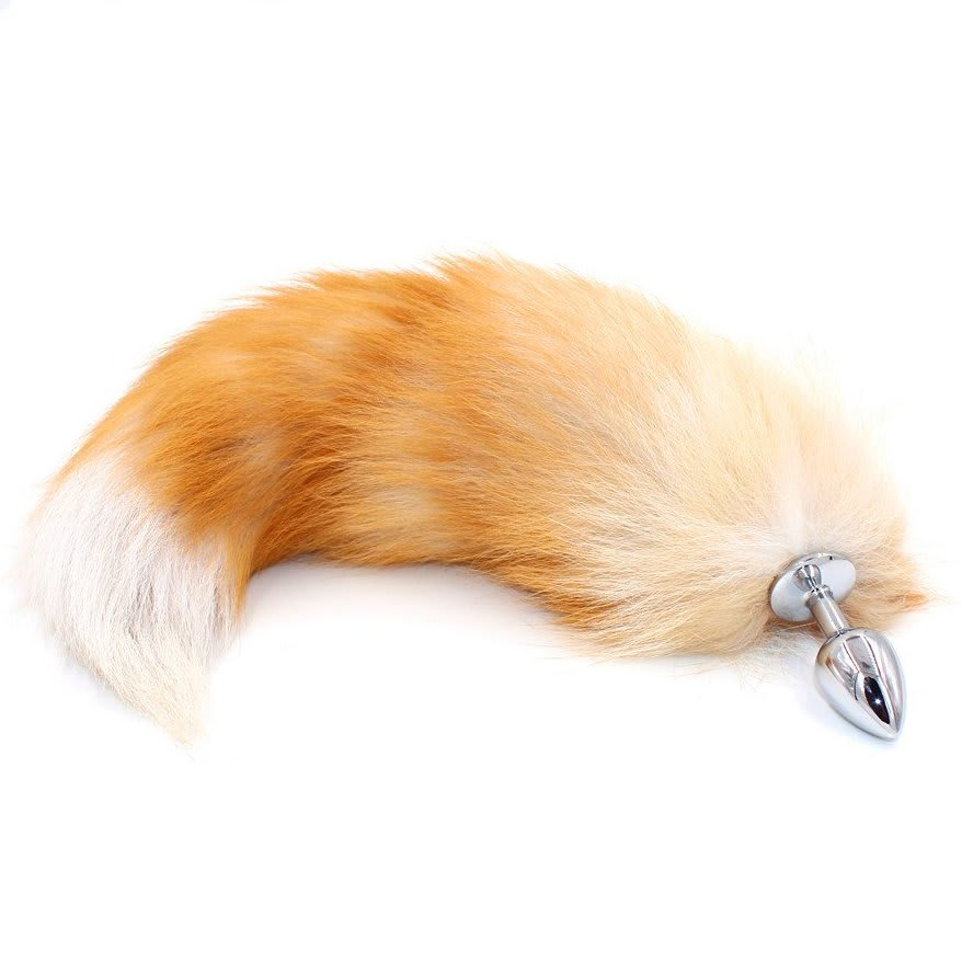 583a49ab8 18″ Blonde White Tip Fox Tail Butt Plug