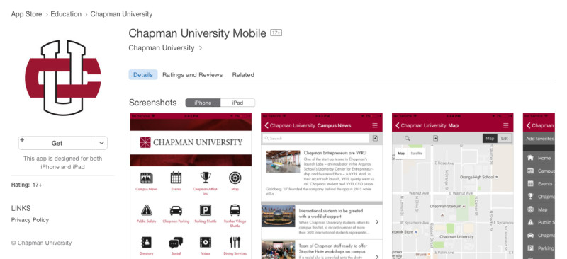 Chapman University Now Available In The App Store