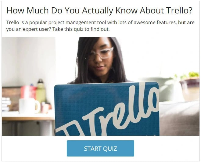 Example of a brand awareness quiz