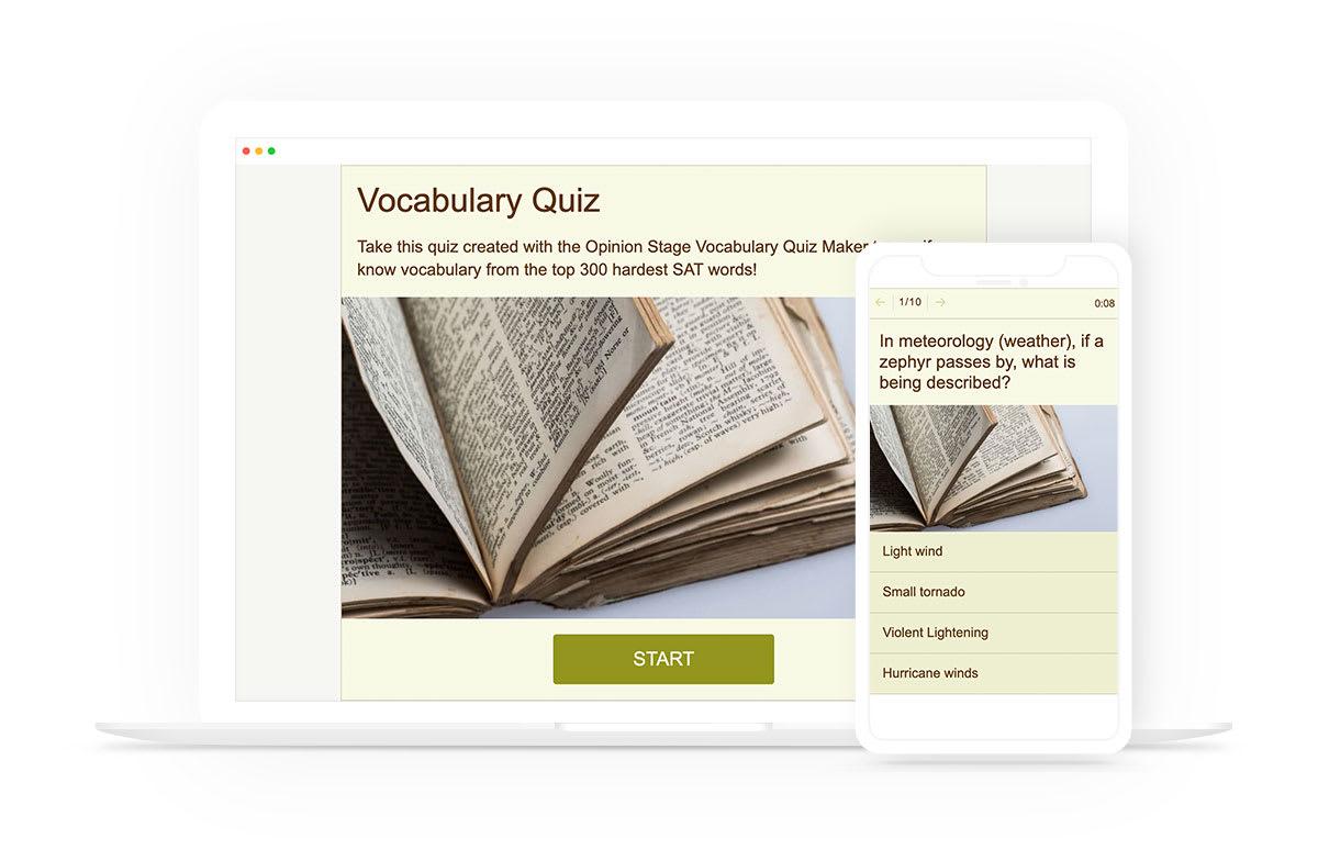 Vocabulary quiz Maker example