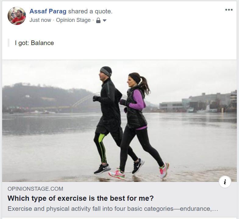 Facebook quiz share example