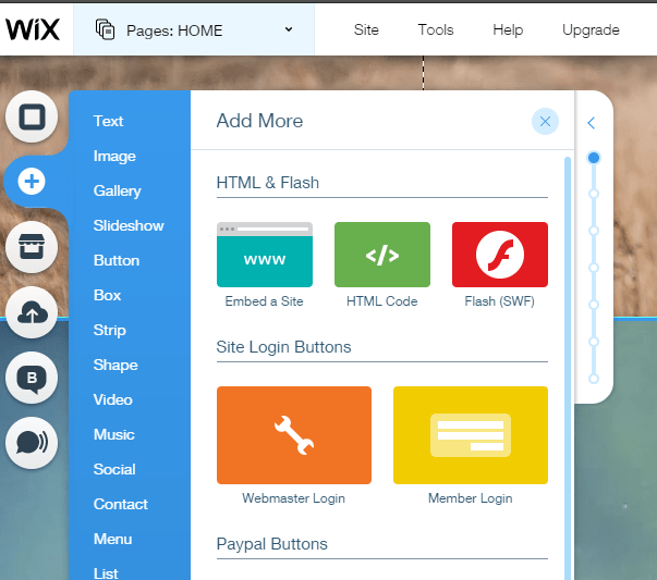 Quiz on Wix dashboard