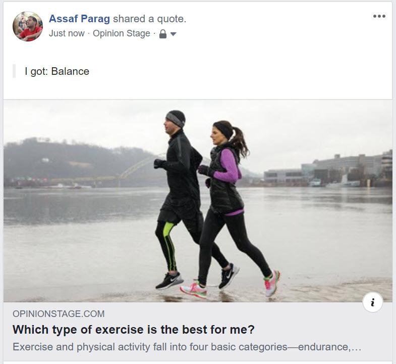 Facebook quiz screenshot